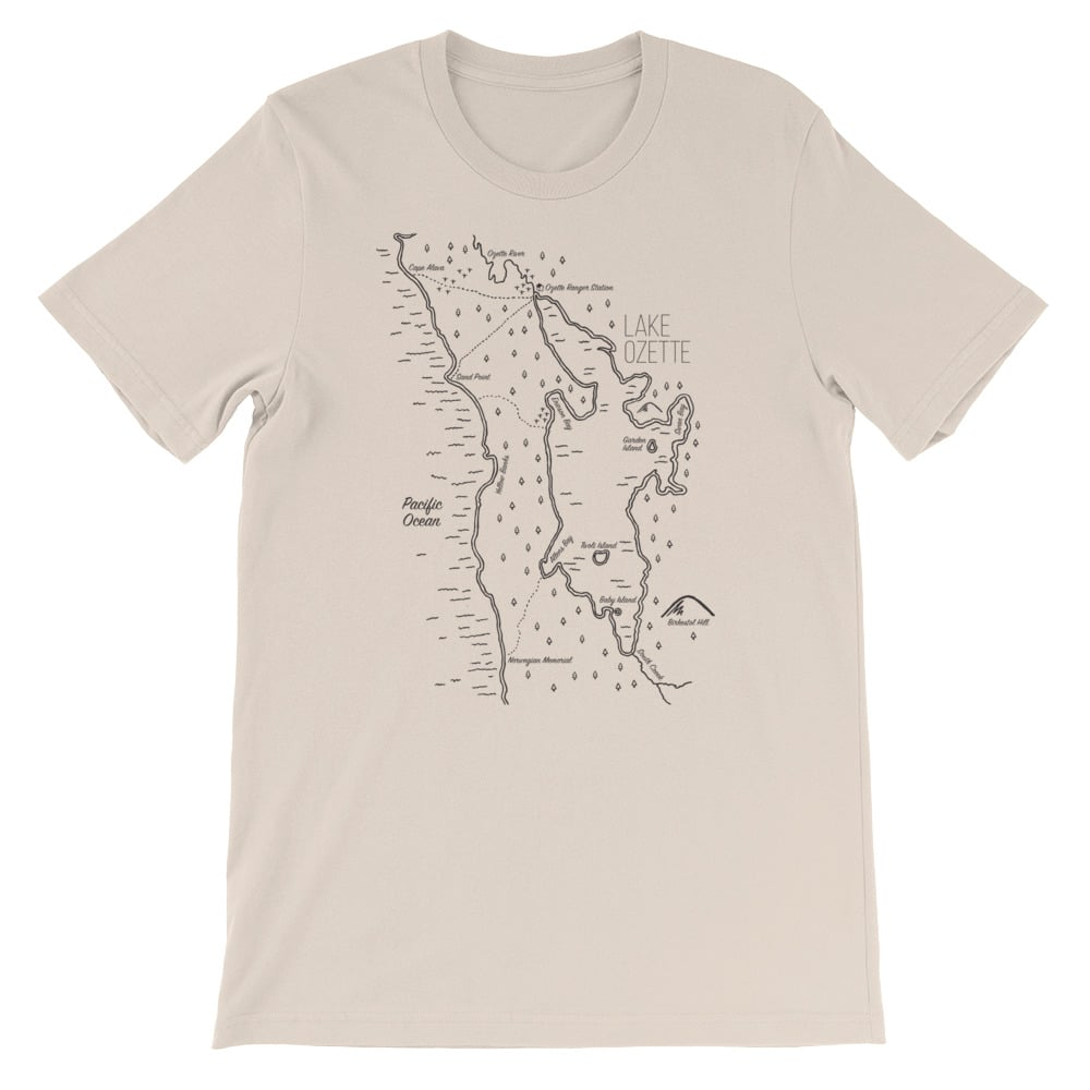 hand drawn maps shirts Lake Ozette Shirt