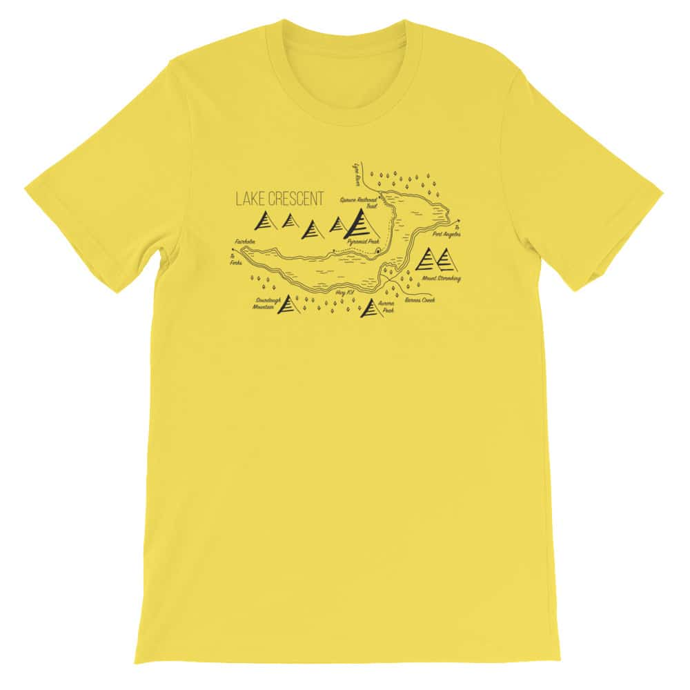 hand drawn maps shirts Lake Crescent Shirt