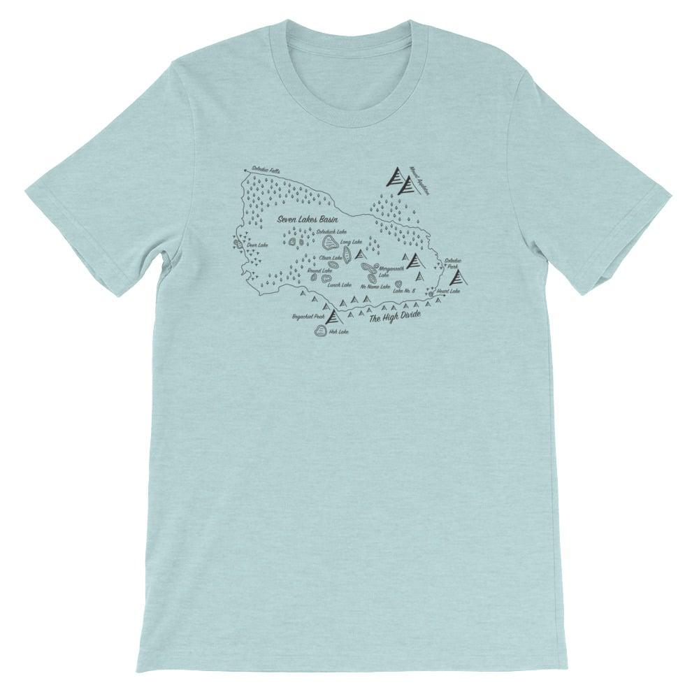 hand drawn maps shirts Seven Lakes Basin Loop Shirt